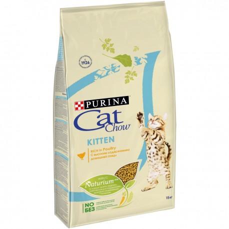 Cat Chow Kitten, Кэт Чау корм для котят с курицей, уп. 15кг