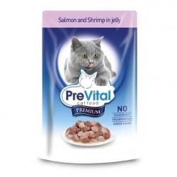 PreVital Premium кусочки креветки и лосось в желе, пауч 100гр
