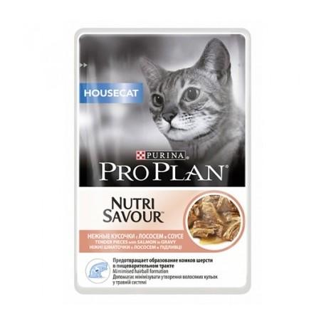 Pro Plan NutriSavour Housecat, для домашних кошек с лососем в соусе, пауч. 85гр.