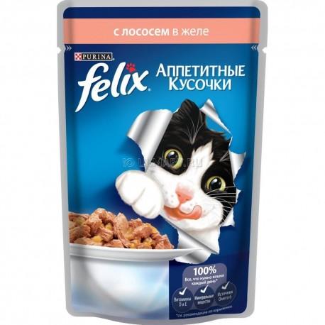 Felix лосось в желе аппетитные кусочки пауч 85 гр