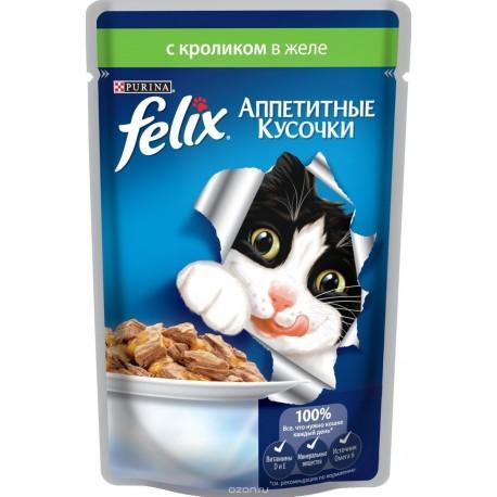 Felix кролик в желе аппетитные кусочки пауч 85 гр