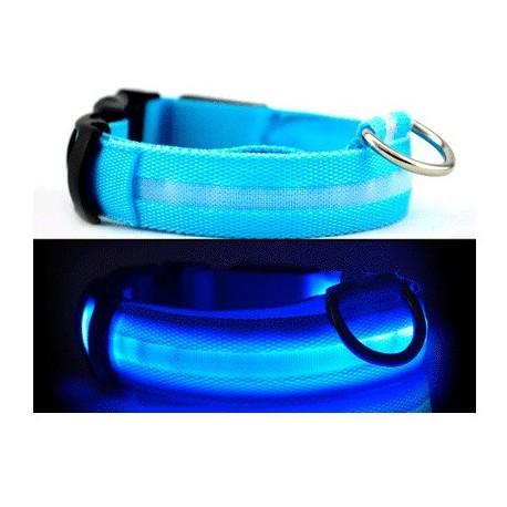 Светодиодный ошейник для собак USB, размер XL, голубой