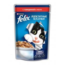 Felix говядина в желе аппетитные кусочки пауч 85 гр