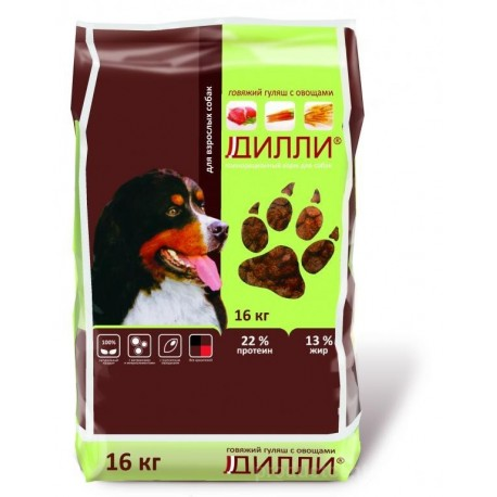 «Дилли» для взрослых собак (Говяжий гуляш) 16кг
